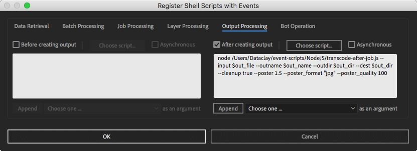 Register Shell Scripts Window